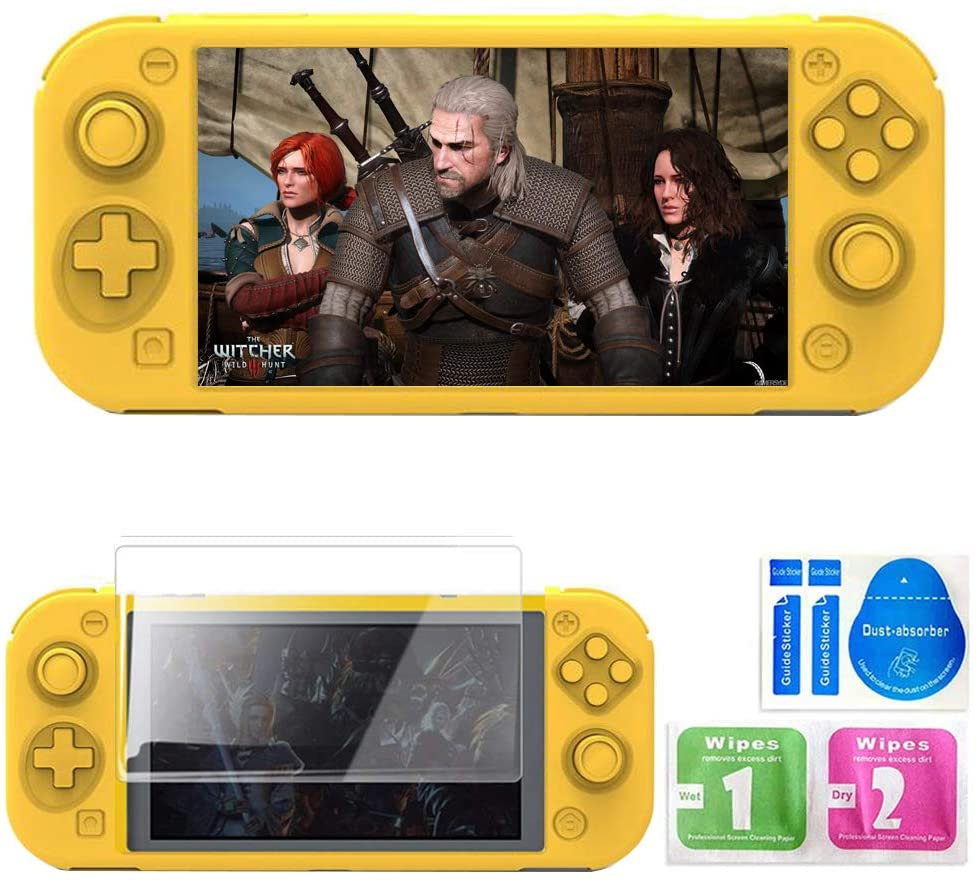 Zestioe Silicone case for Nintendo Switch Lite,Switch Mini Game Console Protection Soft Rubber Sleeve+9H HD Tempered Glass Screen Protectors and Accessories (Yellow)