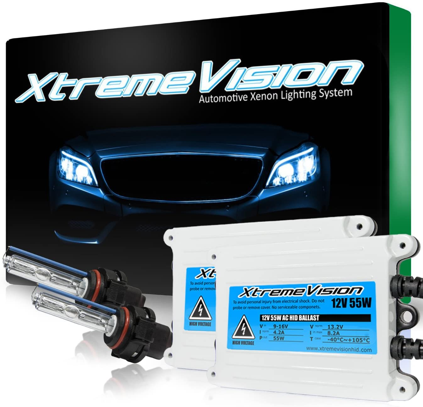 Xtremevision 55W AC Xenon HID Lights with Premium Slim AC Ballast - 5202/12086 6000K - 6K Light Blue - 2 Year Warranty