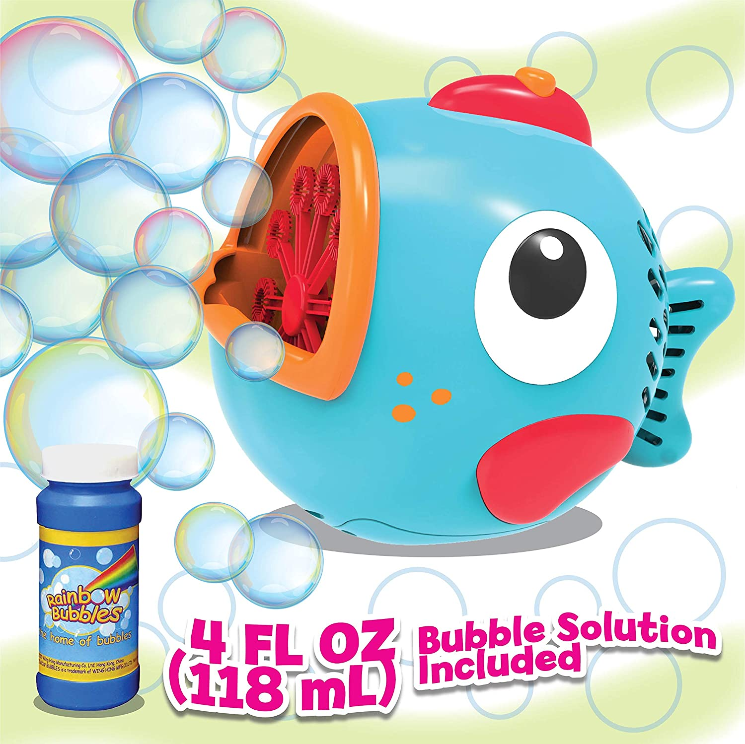 PROUDLY PRESENTS BY RAINBOW BUBBLES Fish Bubble Machine (Automatic Bubble Blower w/ 1 Bubble Solution in Gift Box), Party Hurray
