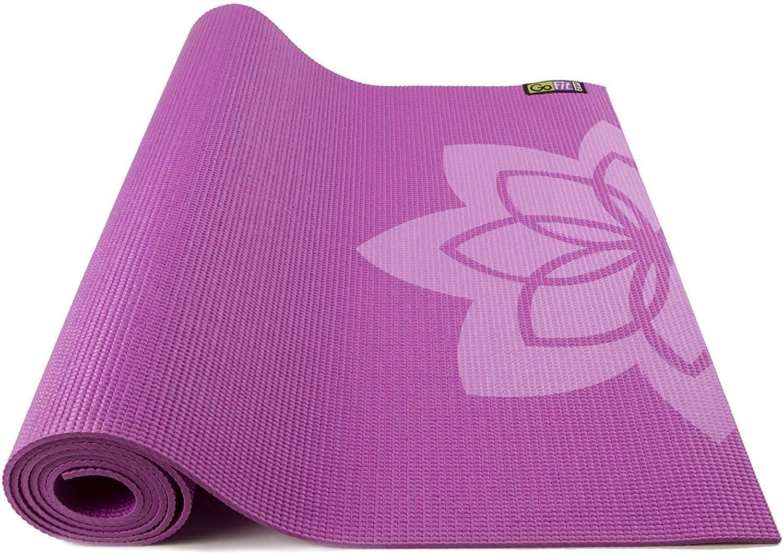 GoFit Printed Yoga Mat - Blue, Purple, and Green