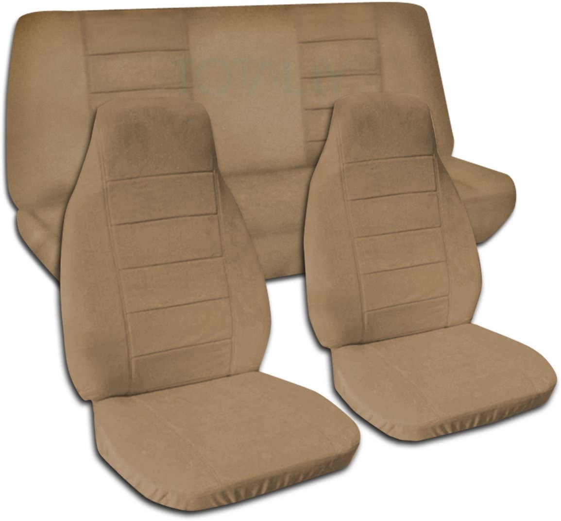 Totally Covers Compatible with 1997-2006 Jeep Wrangler TJ Solid Color Seat Covers: Brown - Full Set: Front & Rear (22 Colors) 2-Door Complete Back Bench