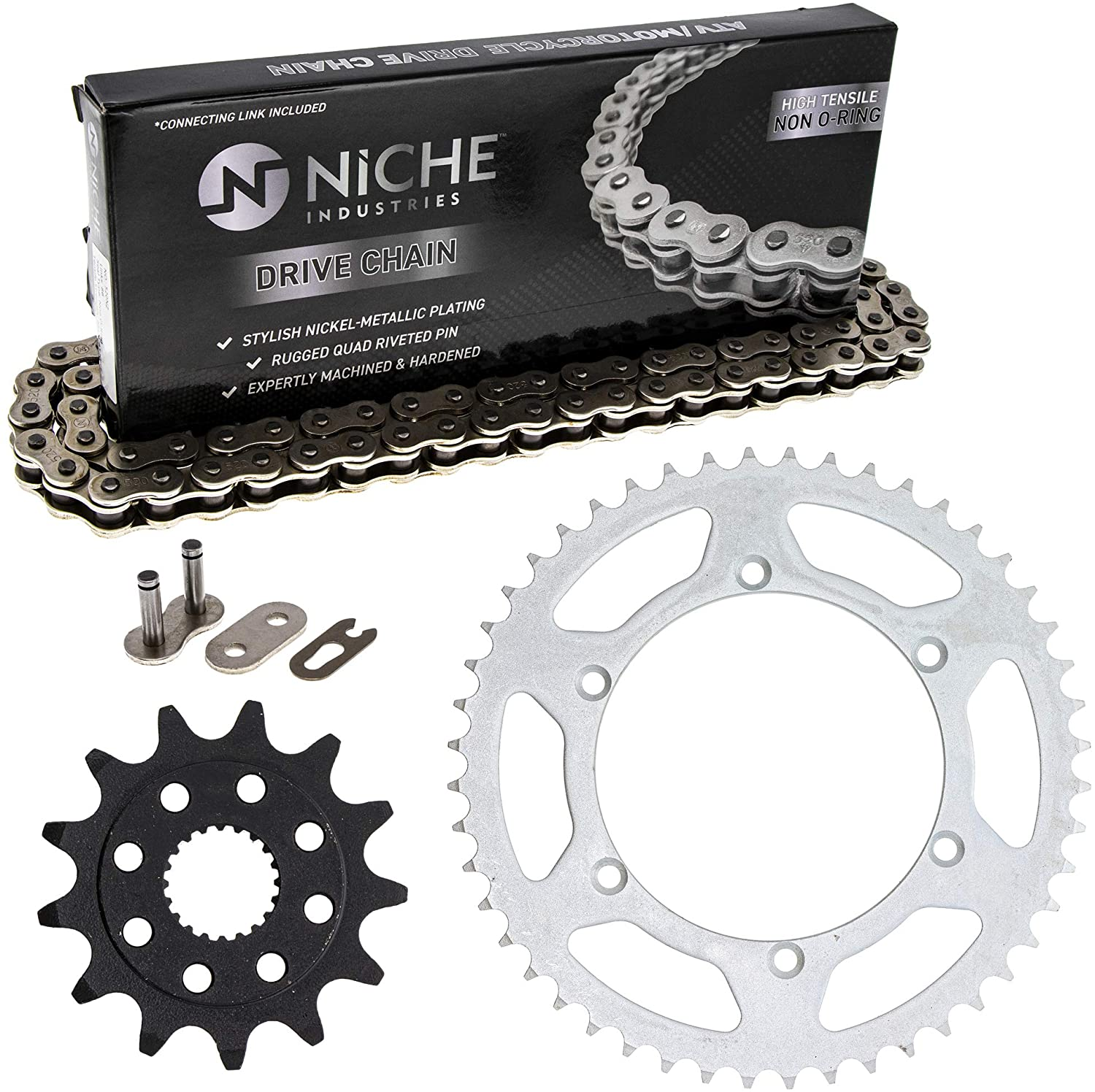 NICHE Drive Sprocket Chain Combo for Kawasaki KX250F Front 13 Rear 48 Tooth 520NZ Standard 114 Links