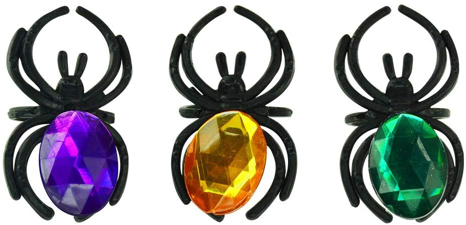 Kipp Brothers Black Plastic Spider Rings with Jumbo Jewels for Halloween - Pack of 12