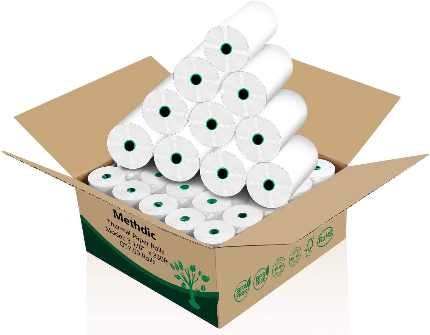 Methdic BPA BPS free Thermal Receipt Paper Rolls 3-1/8 x 230ft 50 Rolls