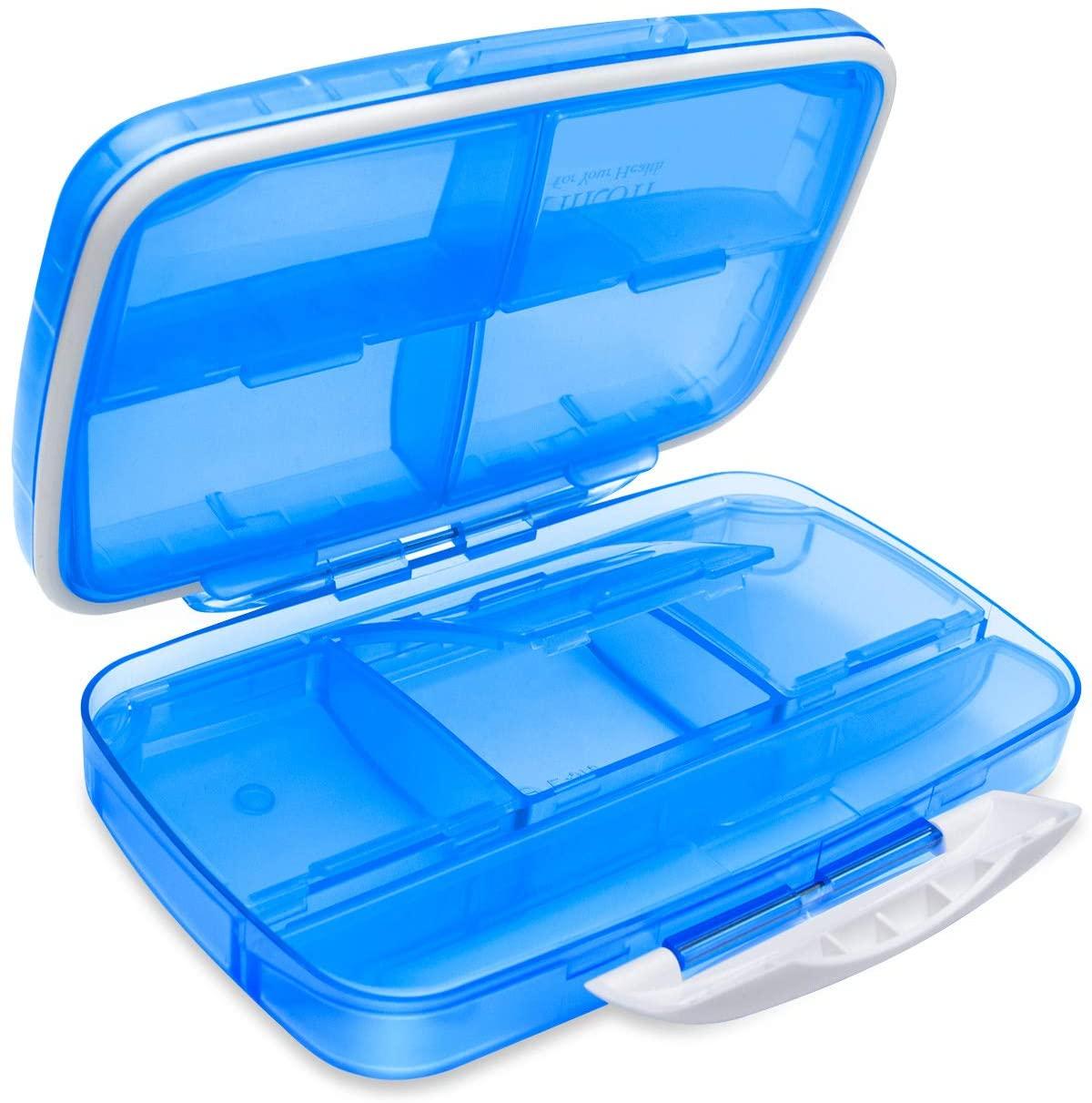 Travel Pill Organizer Large Portable Medication Organizer, Fullicon Oversize 8 Compartment Pill Box, Vitamin Travel Case Pill Holder - Airtight & Moistureproof (Blue)