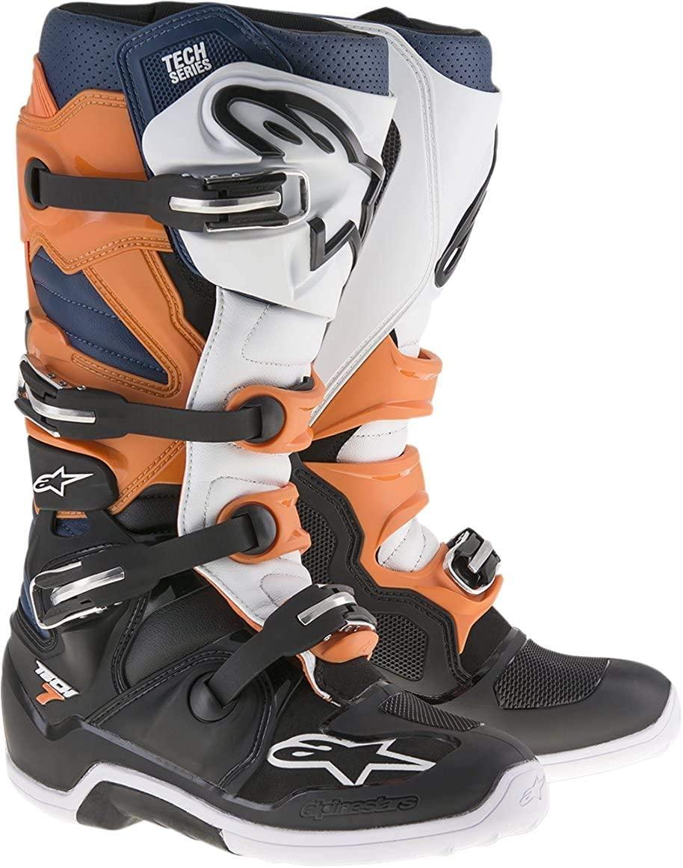 Alpinestars Men's Tech 7 Boots (Black/Orange/White, Size 11)