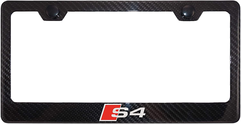 Fit Audi S4 4K Gloss Black Carbon Fiber License Plate Frame with Cap