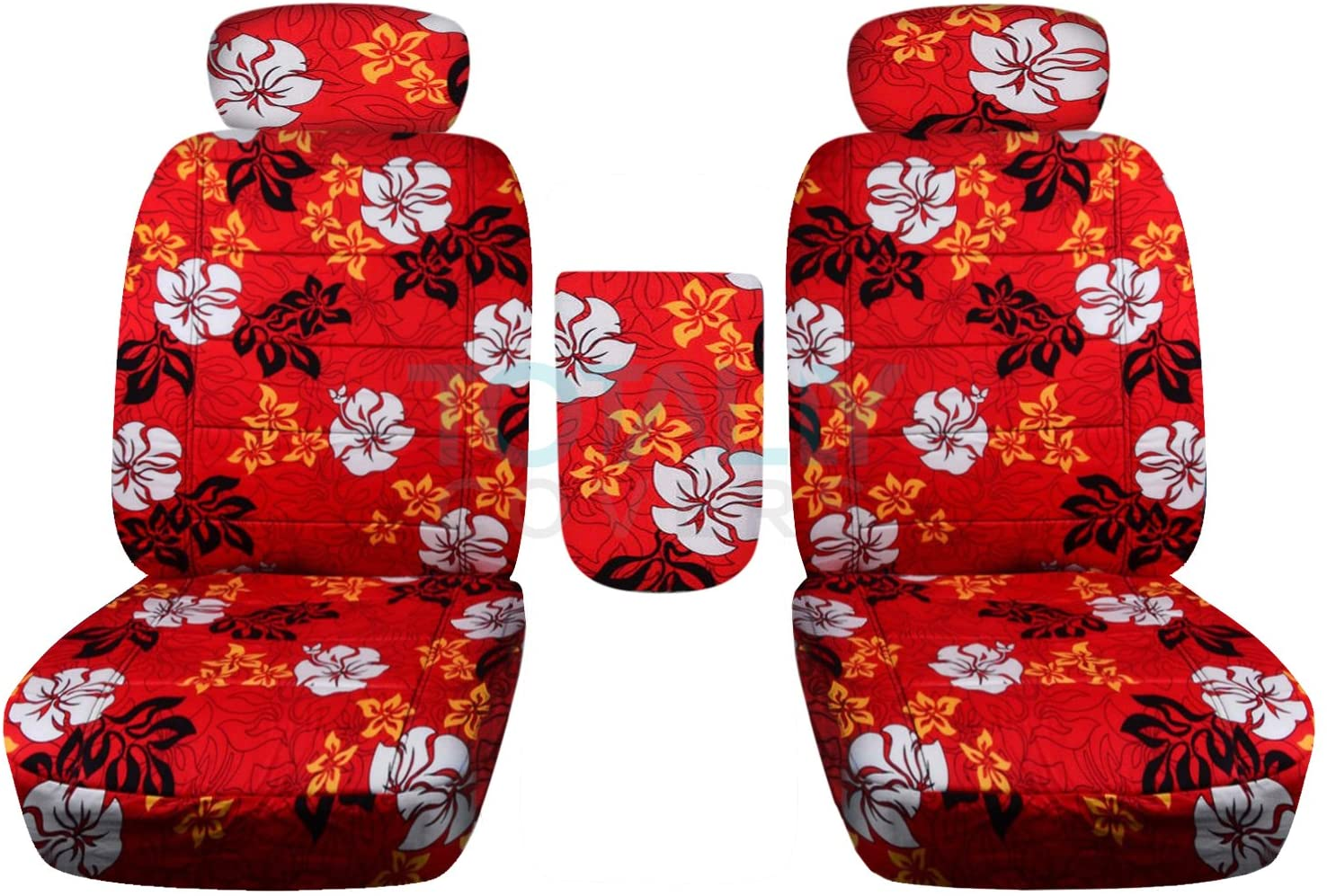 Totally Covers Compatible with 2001-2003 Ford F-150 Hawaiian Truck Bucket Seat Covers with Center Armrest, Adjustable Headrests, w/wo Integrated Seat Belts: Red with Flowers (4 Prints) F-Series F150