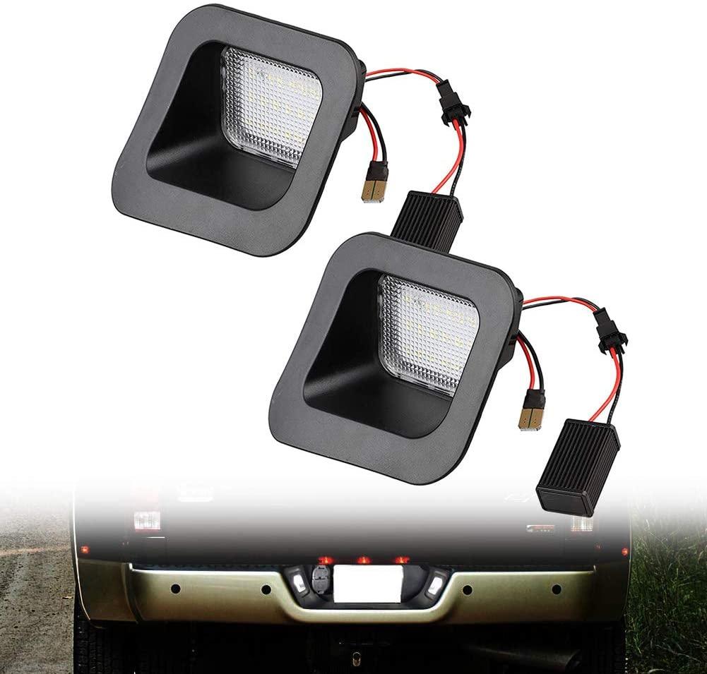 LED License Plate Light Lamp Assembly Replacement w/Socket For 2003-2018 Dodge RAM 1500 2500 3500 Pickup Truck, 6000K Diamond White, 2 Pack