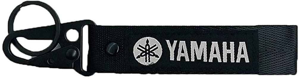 Black Racing Morot Woven Label Tag Key Chain for Automobile Car Motor Key Ring Accessory Karabiner Shackle (YAMAHA)