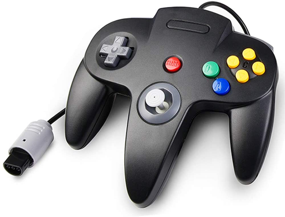 Classic N64 Controller, kiwitatá Retro Wired Controller Video Game Pad Joystick for N64-Console N64 Video System Black