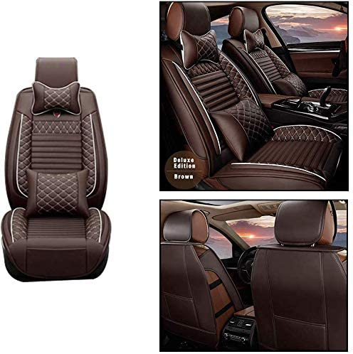 Maite Front Car Seat Covers for JEEP Grand Cherokee PU Leather 2Pcs Car Seat Cushion-Compatible with Airbag (Coffee Color)