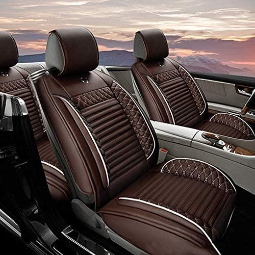 Jiahe Car Seat Cover for Seat Ateca Arona Ibiza Leon MII Universal Car Seat Protectors 5-Seat Full Set Artificial Leather Waterproof,Easy Install,Coffee Standard