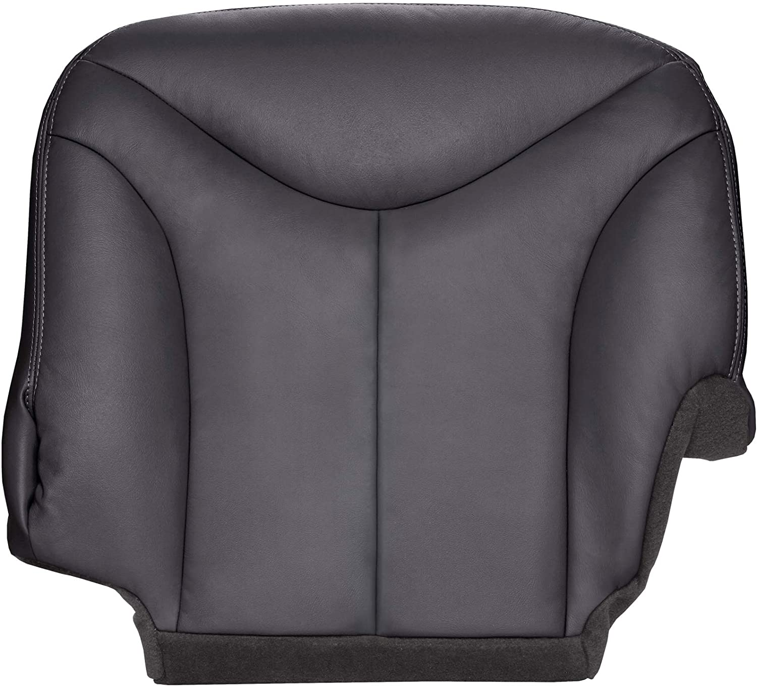 The Seat Shop Driver Side 40 Portion (Split Bench) Bottom Replacement Seat Cover - Graphite (Dark Gray) Leather (Compatible with 1999 GMC Sierra 1500, 2500, 3500)
