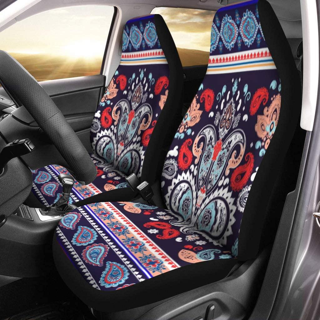 Semtomn Car Seat Covers Paisley Pattern Ethnic Mandala Towel Yoga Tattoo Set of 2 Auto Accessories Protectors Car Decor Universal Fit for Car Truck SUV