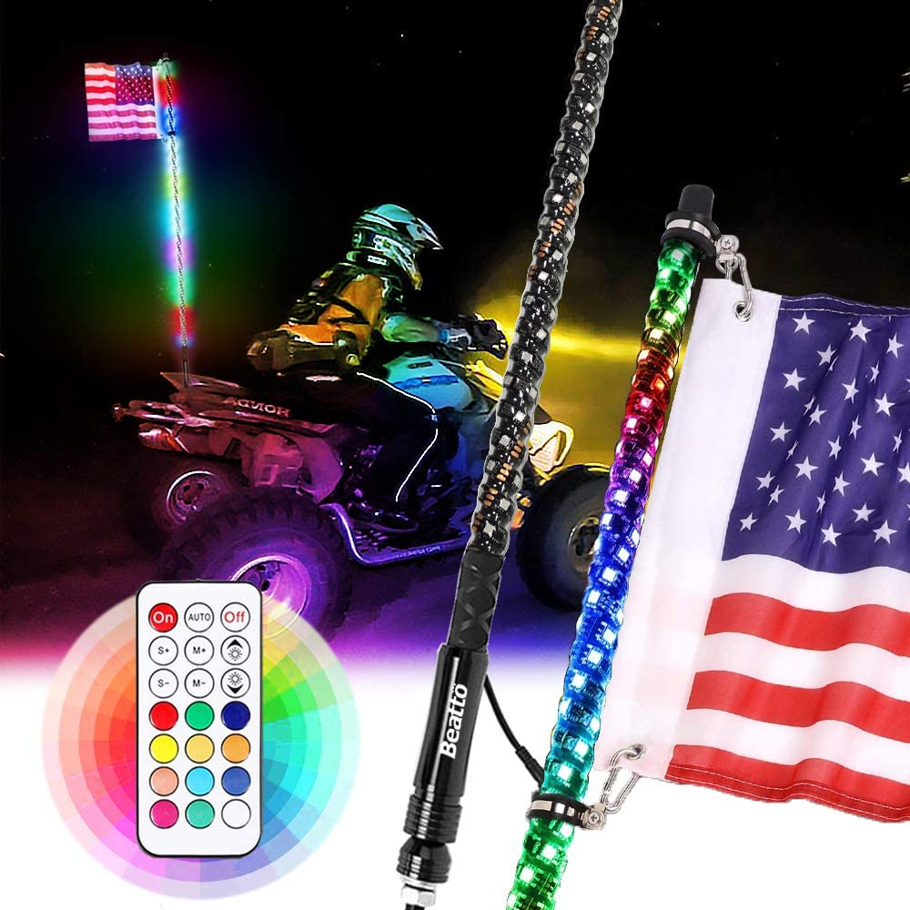 Beatto 3FT(0.9M) RF Remote Controll RGB LED Whips Light with Dacning/Chasing Light LED Antenna Light for Off- Road Vehicle ATV UTV RZR Jeep Trucks Dunes.