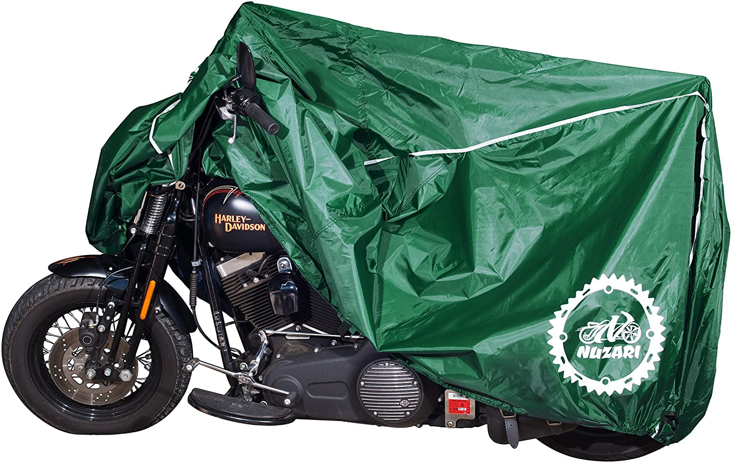 Nuzari Heavy Duty Motorcycle Cover - Perfect Waterproof Motorcycle Cover - Harley Davidson Motorcycle Cover - Strong Bike Cover XL