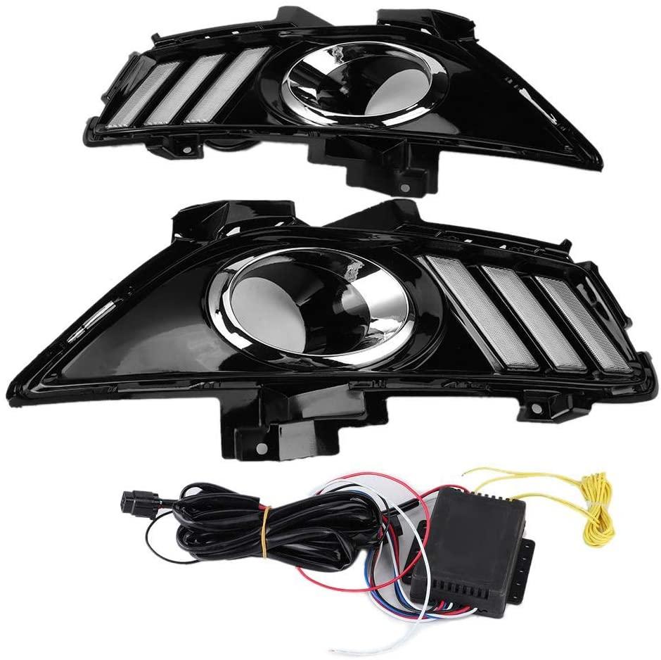 KIMISS 2pcs Car Running Lights, LED Daytime Running Lights Signal Lamp 3 Colors LED Light Fits for Fusion 2013-2016[ABS + High Brightness LED]