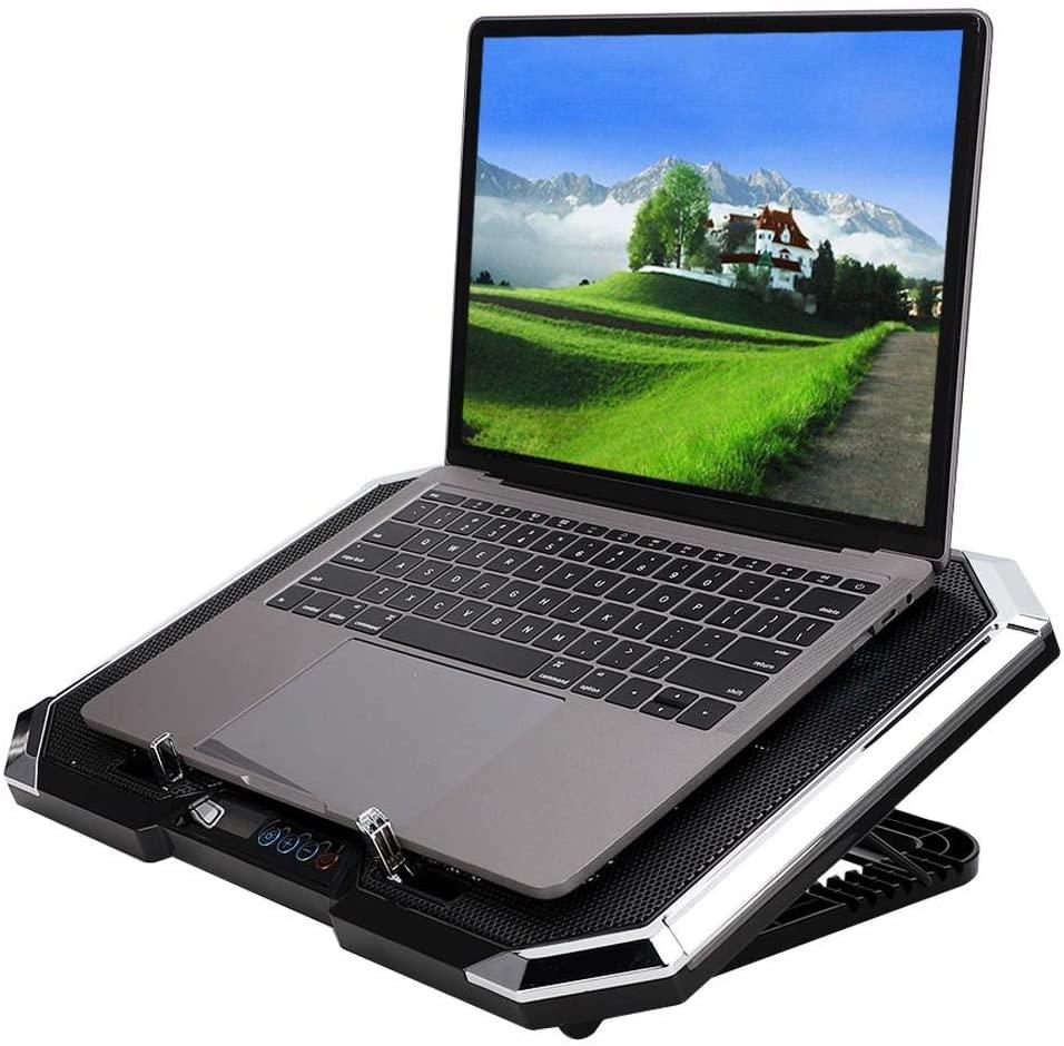 ASHATA Laptop Cooling Pad,Multi-Functional Design,Multi-Angle Design,Ergonomic Design,6PCS Fan,Nuoxi Q8 Notebook Cooler Multi-Angle Adjustment Base + LCD Screen Button Controllable RBG
