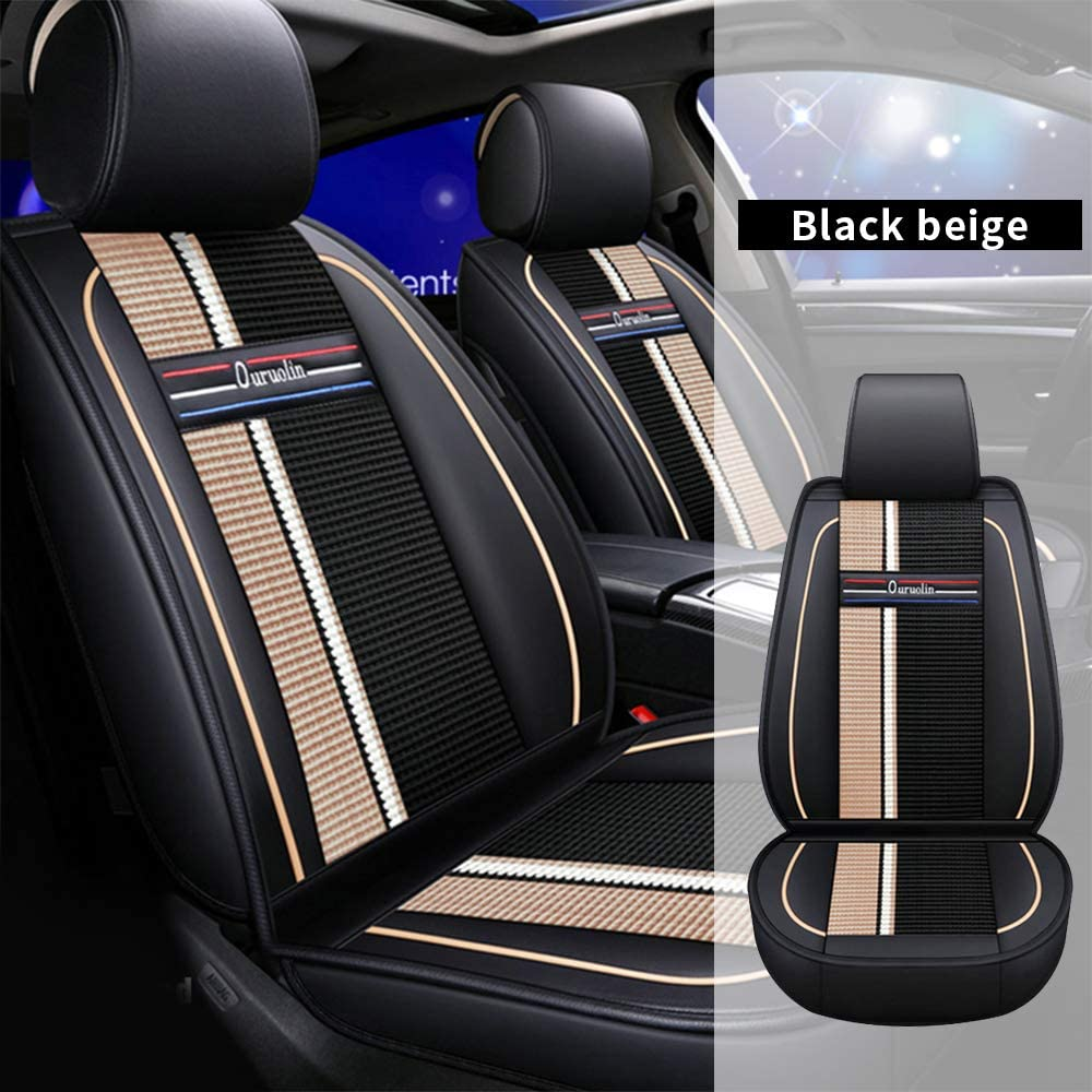 All Weather Custom Car Seat Covers for Mercedes-Benz Most Car Models 5-Seat Full Protection Ultra Comfort Black & Beige Full Set