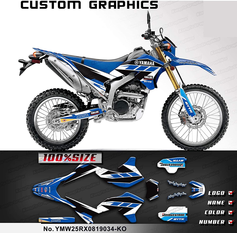 Kungfu Graphics Custom Decal Kit for Yamaha WR250R 2008 2009 2010 2011 2012 2013 2014 2015 2016 2017 2018 2019 2020,Blue, YMW25RX0819034-KO