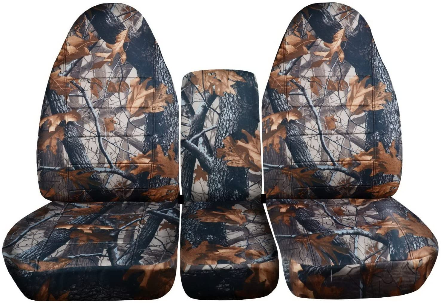 Totally Covers Compatible with 2002-2005 (3rd Gen) Dodge Ram Camo Truck Seat Covers (40/20/40 Split Bench) with Center Console, w/wo Separate Headrest Covers - Front: Gray Tree (16 Prints)