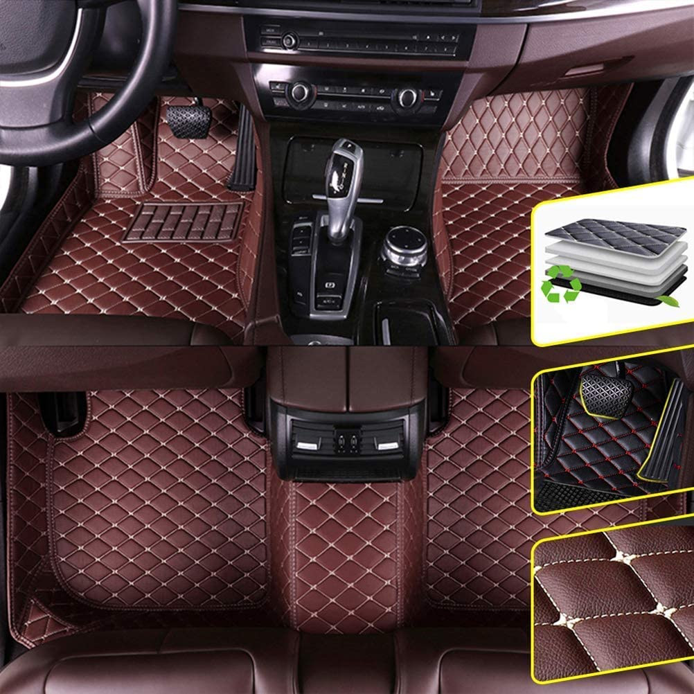 DBL Custom Car Floor Mats for Jeep 2011-2018 Jeep Grand Cherokee Waterproof Non-Slip Leather Carpets Automotive Interior Accessories 1 Set Coffee