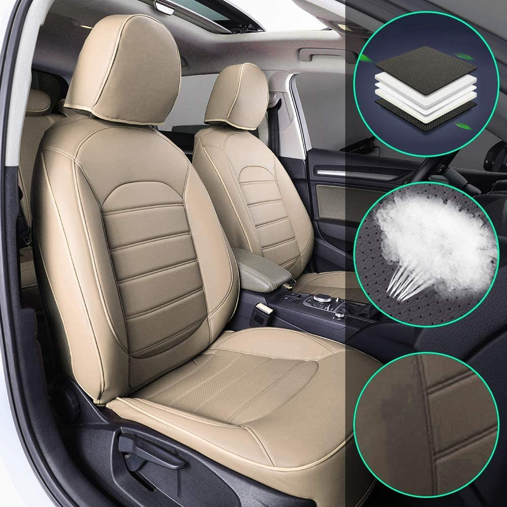 Muchkey Luxury Leather seat Covers for Ford Ranger 2018 Full Set Front+Rear Cushion Airbag Compatible, Beige