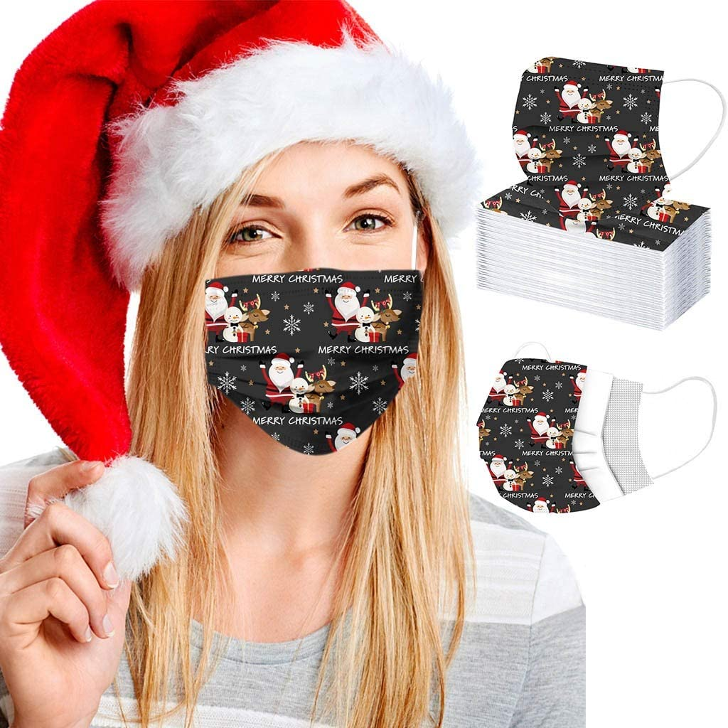 Miyola 50/100 PCS Disposable Unisex Printed Christmas Face_Masks Unisex Adult 3-ply Breathable Non-Woven Fabri- Christmas Snowman Theme Pattern Disposable_mask