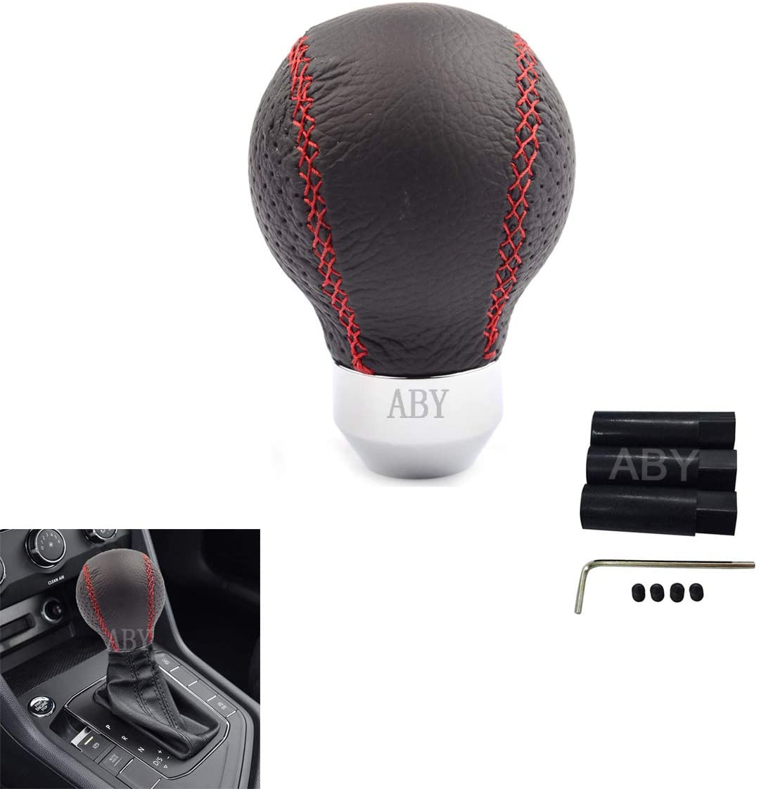 AutoBoy Smooth Leather Ball Gear Stick Shift Shifter Knob Lever Cover Universal Fit Car Manual Transmission Automatic Transmission Without Lock Button