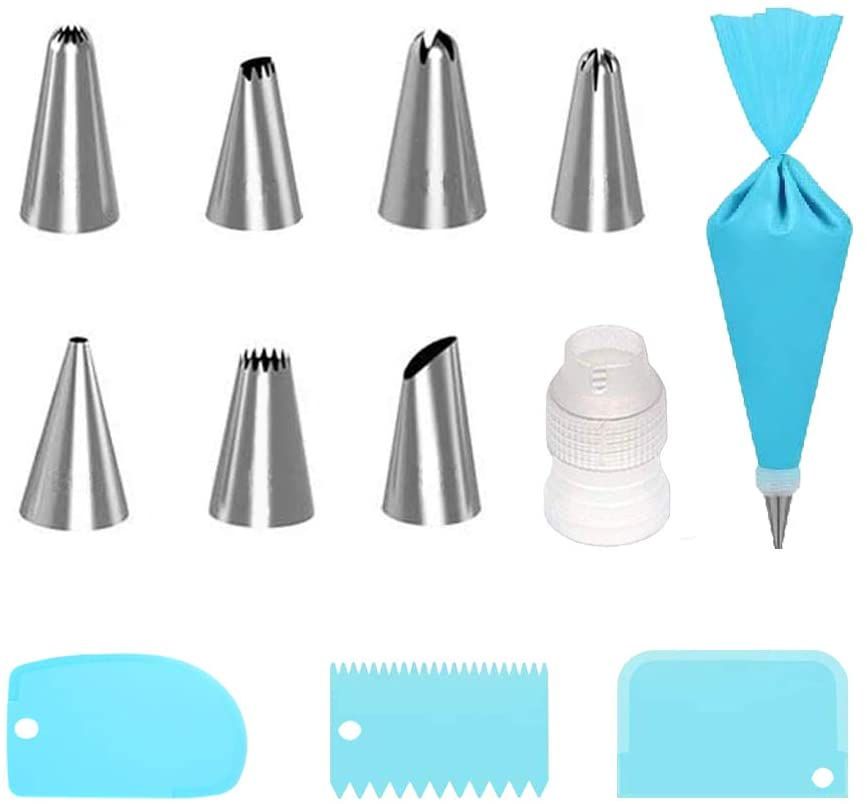 Cake Decorating Kit 12pcs Supplies with 7 Stainless Steel Cake Decorating Tips,1Reusable Silicone Pastry Bags,3 Icing Smoother,1Couplers,Piping Bags,Cake Cupcake Icing Tools(12pack)