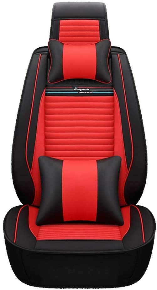 Leather Car Seat Covers Full Set - for 5 Seats Car Automotive Universal Fit Seat Covers Seat Cushion Cover,Car Seat Covers for Year Round (Color : Red, Size : Deluxe Edition)