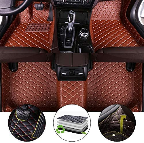 All Weather Floor Mat for 2011-2012 Chevrolet Chevy Spark Full Protection Car Accessories Brown 3 Piece Set