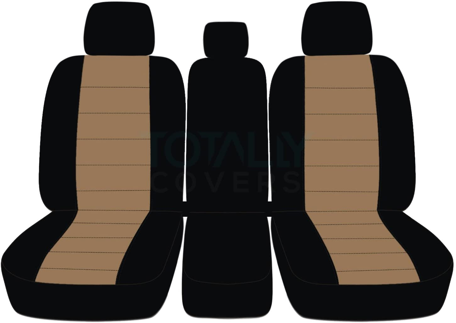 Totally Covers Compatible with 2011-2014 Ford F-150 Two-Tone Truck Seat Covers (Front 40/20/40 Split Bench) w 3 Headrests, Opening Center Console/Solid Armrest: Black, Brown (21 Colors) F-Series F150