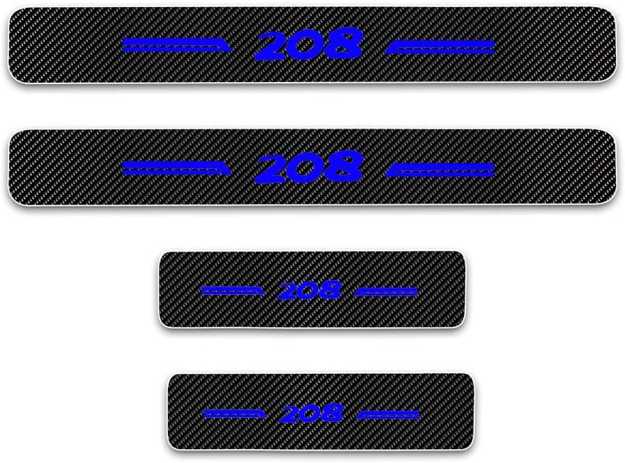 For Peugeot 208 Door Sill Protector Reflective 4D Carbon Fiber Sticker Door Entry Guard Door Sill Scuff Plate Stickers Auto Accessories 4Pcs Blue