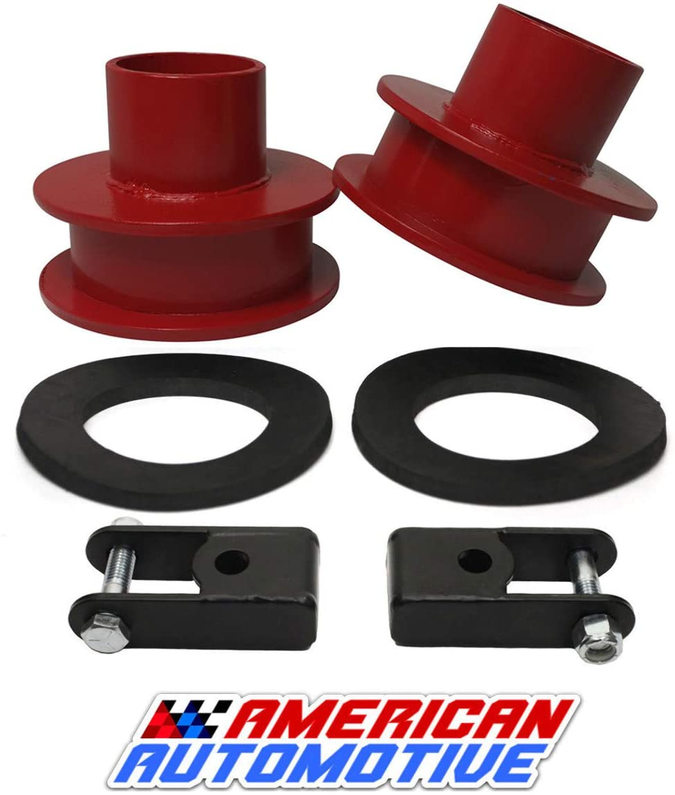 American Automotive F250 F350 Super Duty Front Leveling Lift Kit 4WD 'Road Fury' Red Carbon Steel Coil Spring Spacers (Set of 2) (2