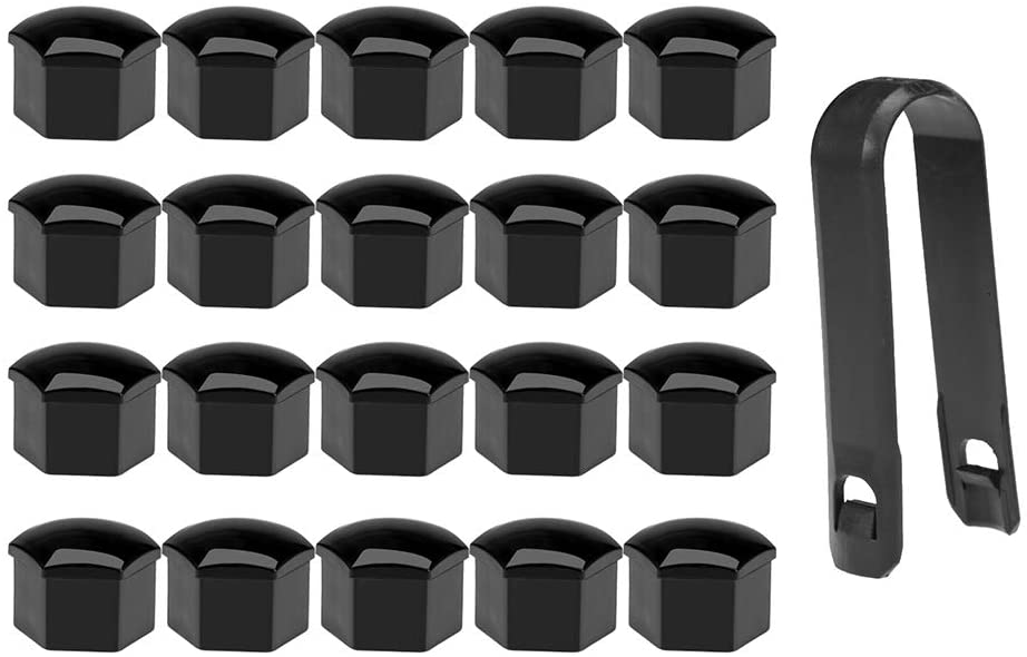 QUIOSS 17mm Wheel Lug Nut Bolt Cover Cap Black for Audi A4 A6 with Removal Tool (Pack of 20)