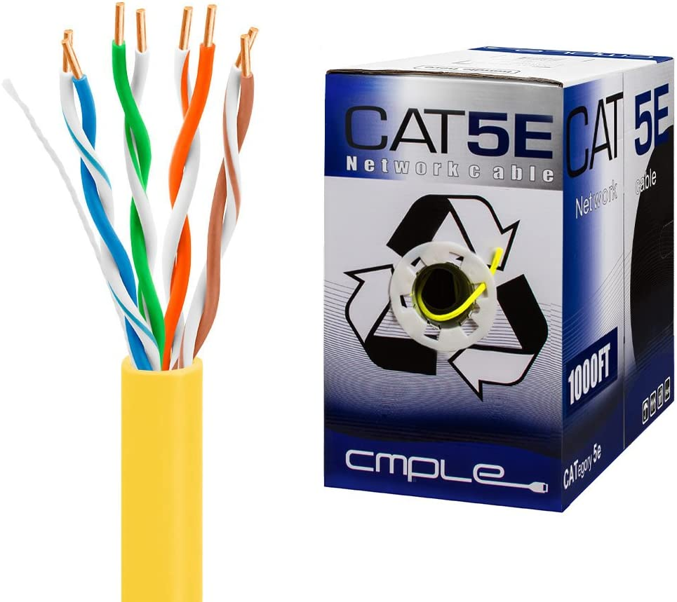 Cat5e Gigabit Ethernet Cable Network Bulk Unshielded Twisted Pair (UTP), Solid 24AWG CMR 350 MHz, 1000 Feet Yellow