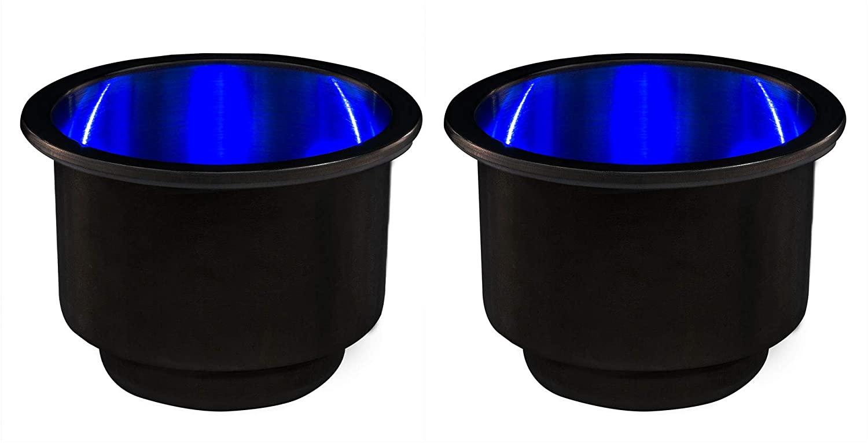 RecPro Stainless Steel Cup Holder w/Blue LED Lights   Boat Cup Holder  Marine Drink Holder   RV (Camper) Cup Holder   Lighted Cup Holders (2)