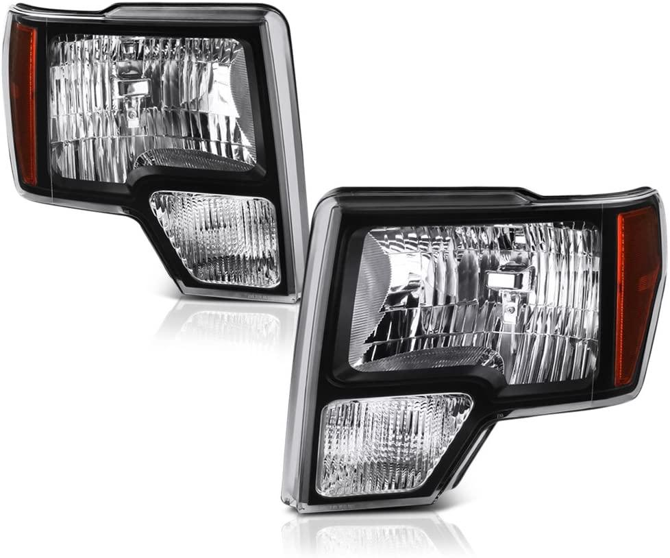 VIPMOTOZ Black Housing OE-Style Headlight Headlamp Assembly For 2009-2014 Ford F-150 Pickup Truck Halogen Model, Driver & Passenger Side