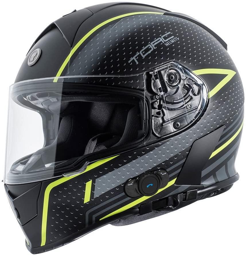 TORC T14B Bluetooth Integrated Mako Full Face Motorcycle Helmet With Graphic (Scramble Hi Viz) XX-Large