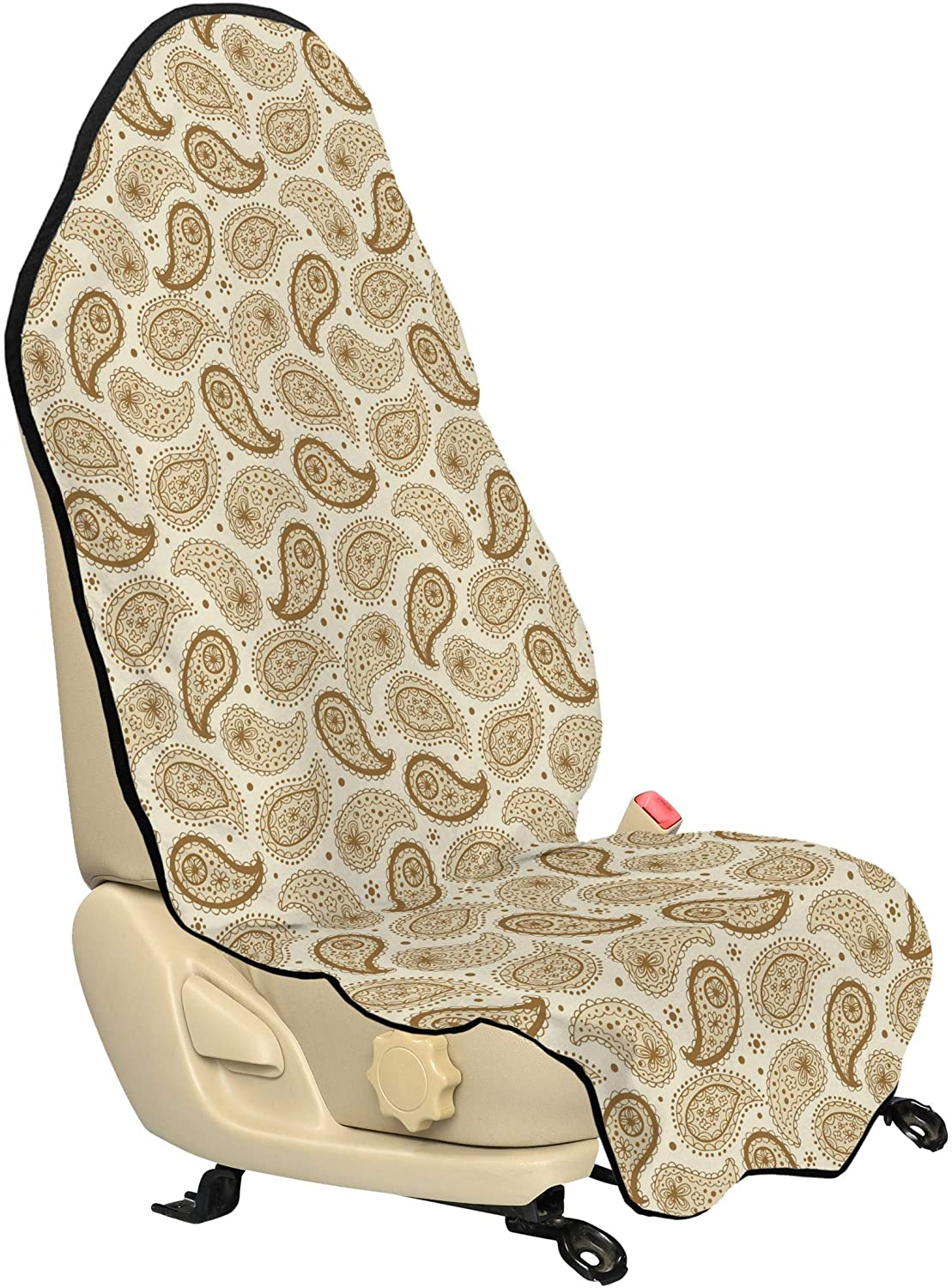 Lunarable Ivory Car Seat Hoodie, Persian Paisley Motifs Oriental Teardrop Shapes with Curved Tip Traditional Pattern, Car Seat Cover Protector Non Slip Backing Universal Fit, 30