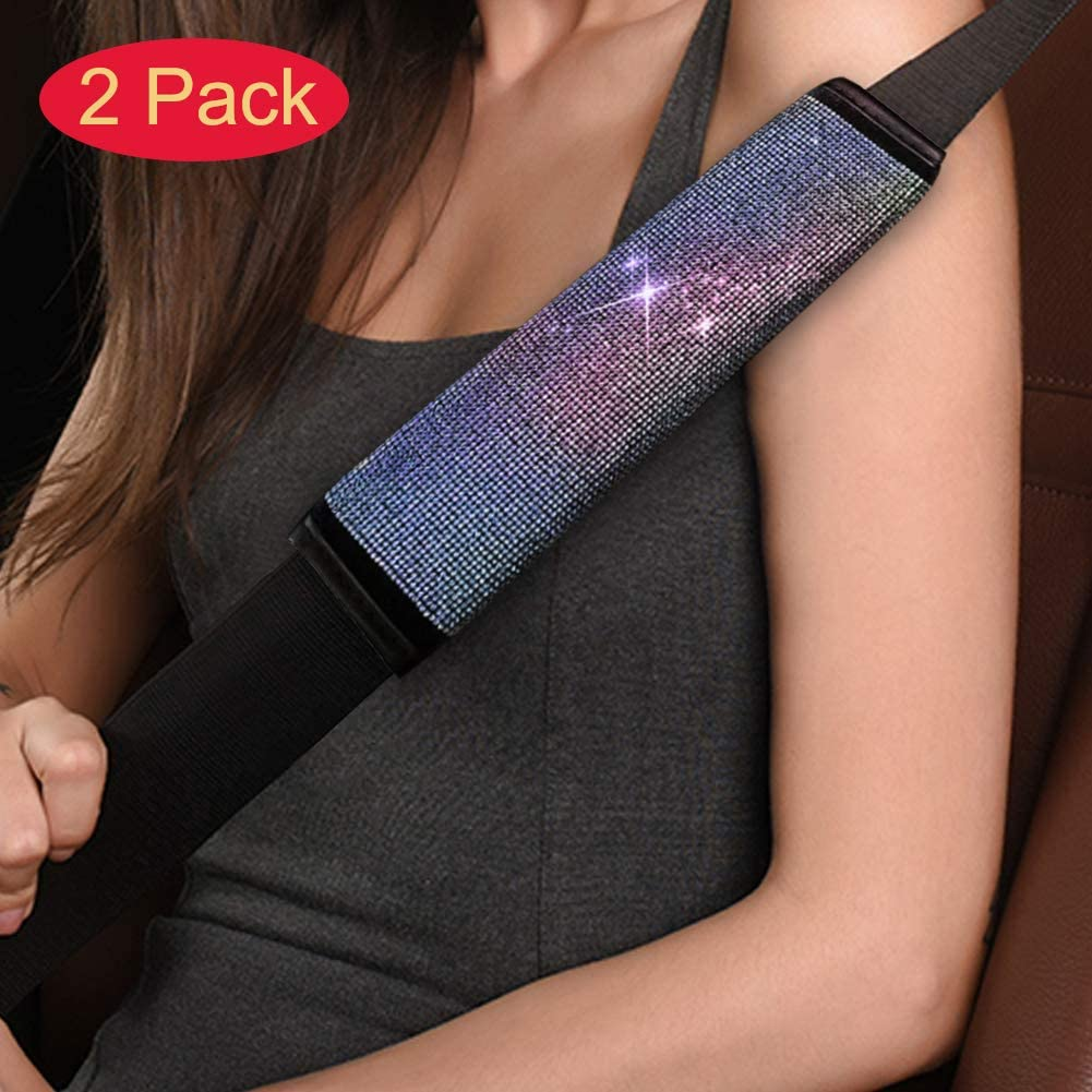 SUNACCL Bling Car Seat Belt Shoulder Pad Cover, Soft Cushion Safety Belt Covers with Crystal Diamond PU Leather Trim, Colorful Car Decor Accessories for Women or Girls (2Pcs)
