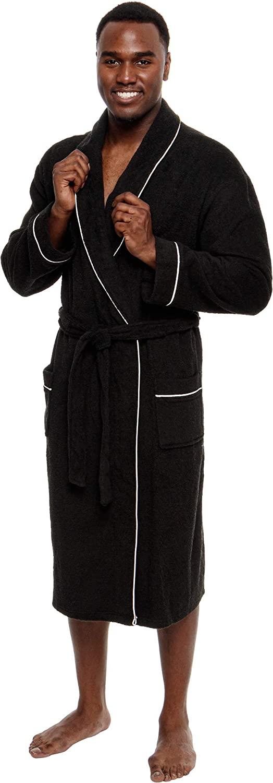 Ross Michaels Men's Lightweight Cotton Terry Robe - Luxury Bathrobe w/Contrast Piping