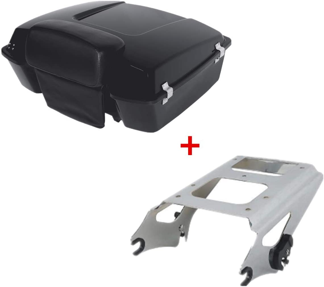 TCMT Chopped Tour Pack Trunk Black Latch Backrest Mount Rack Fit For Harley Touring Road King FLHT FLHX FLTR 1997-2008 (Chrome Latches/Mounting Rack, Style B)