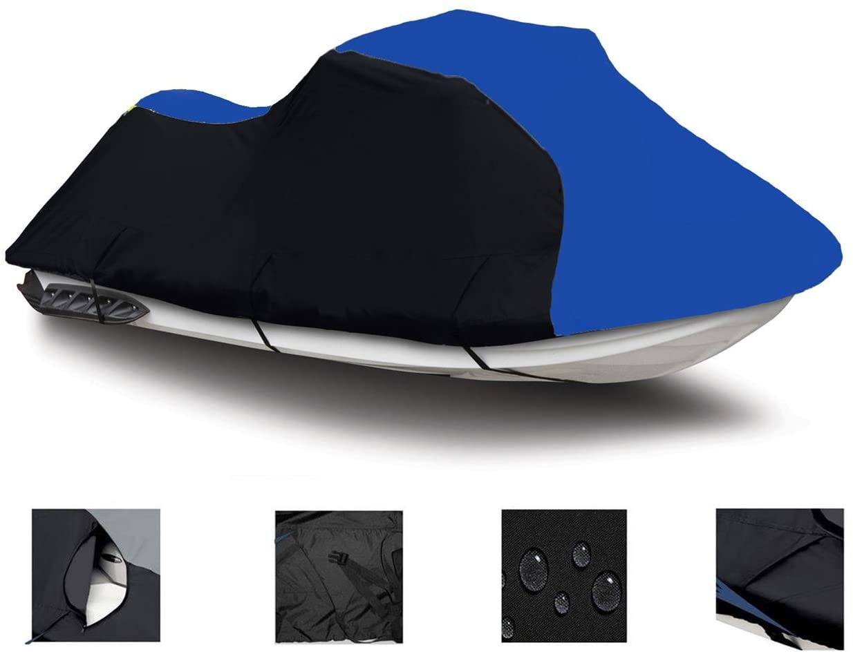 Black/Blue Super Heavy-Duty, PWC 600D Jet SKI Cover for Yamaha Wave Raider 700 / RA700 1994 1995 1996 1997 2 Seater