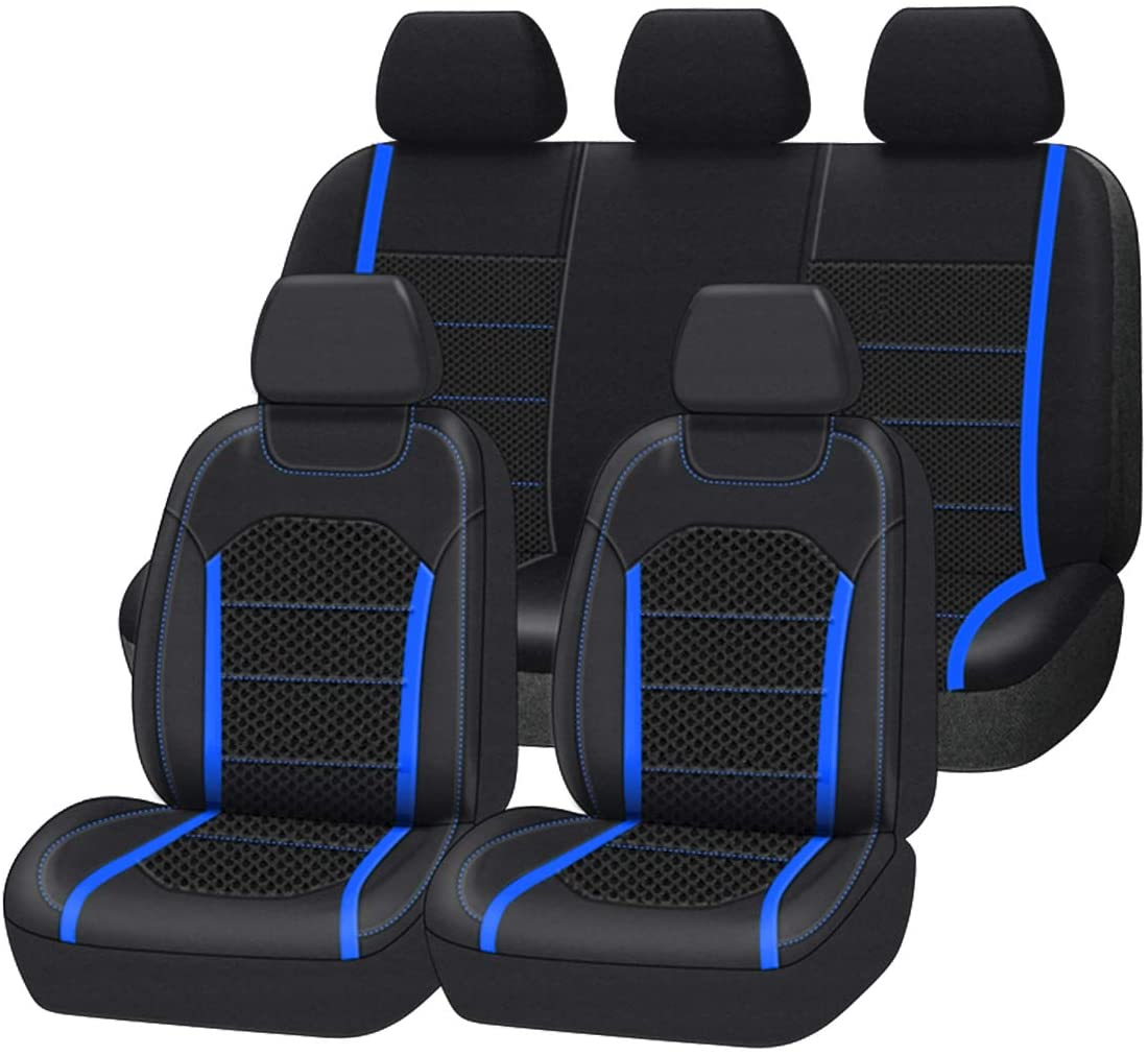 CAR-GRAND Premium Leather with Spacer Mesh Universal Fit Car Seat Covers,Airbag Compatible,Fit for Suvs,Sedans,Vans,Trucks,Cars(Blue)