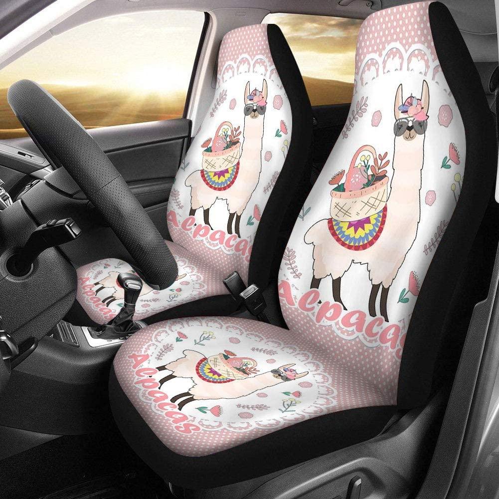 Car Seat Covers Universal Fit Full Seat Car Seat Protectors Fashion Hawaiian Style Llama Printed Vehicle Air Cushion Car Decorative