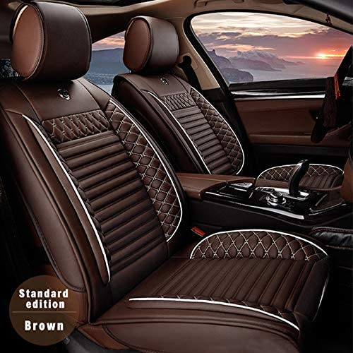 5pcs Car Seat Covers for BMW 4 Series F33/F32 2014-2018,Classic Soft Waterproof Full Set PU Leather Car Front/Rear Seat Pads(Coffee)