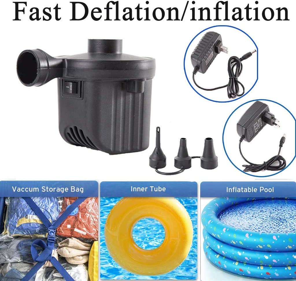Electric Air Pump,12V Electric Air Pump with 3In1 Nozzle,Inflatable and Exhausted Pumps ,Perfect Inflator Pumps for Swimming Ring, Yoga Ball, Inflatable Cushion, Air Sofa, Hovercraft (Black A)